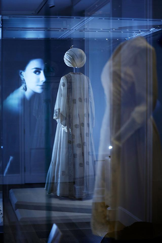 LONDON, ENGLAND - JULY 03: A kaftan and turban, designed by Carl Toms and worn by Princess Margaret, is displayed in the Fashion Rules Exhibition at Kensington Palace on July 3, 2013 in London, England. The new exhibition will showcase a display of clothes worn by members of the Royal Family in the late twentieth century and opens on July 4. (Photo by Matthew Lloyd/Getty Images)