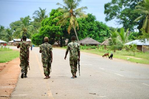 Soldiers from the Mozambique army on patrol after an attack by suspected islamists late last year in the north of the country