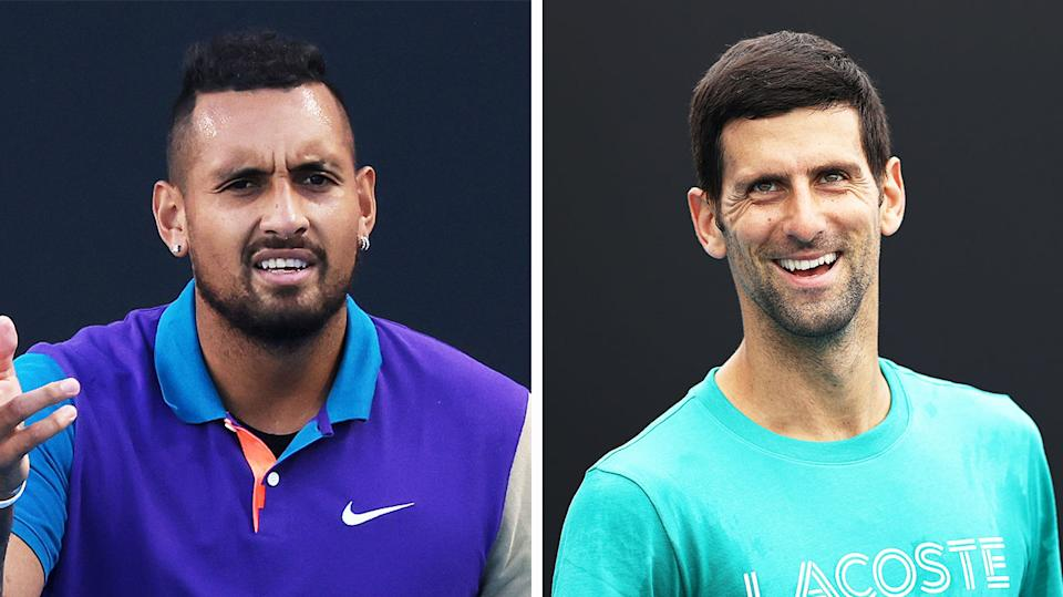 World No.1 Novak Djokovic (pictured right) smiling during practice and Nick Kyrgios (pictured left) frustrated during a match.]