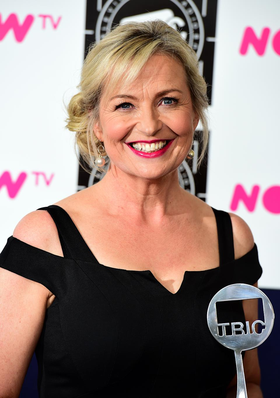 Winner of the Weather Presenter Sponsored by TIBO award Carol Kirkwood in the press room at the 2016 Television and Radio Industries Club Awards, Grosvenor House, Park Lane, London. PRESS ASSOCIATION Photo. Picture date: Tuesday March 8, 2016. Photo credit should read: Ian West/PA Wire