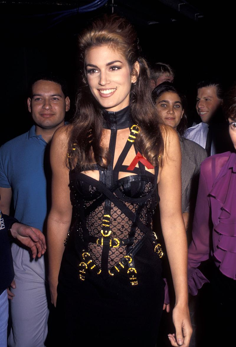 Model Cindy Crawford attends the Ninth Annual MTV Video Music Awards on September 9, 1992 at the Pauley Pavilion, UCLA in Westwood, California. (Photo by Ron Galella, Ltd./Ron Galella Collection via Getty Images)
