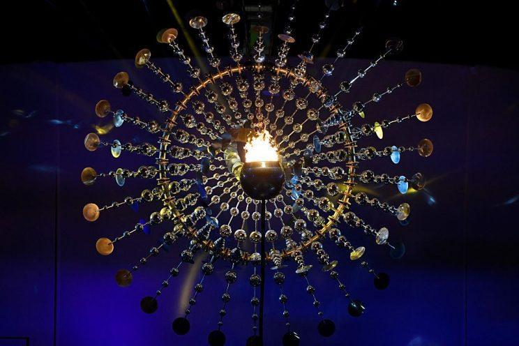 The Olympic Cauldron burns with the Olympic Flame during the opening ceremony of the Rio 2016 Olympic Games at the Maracana stadium in Rio de Janeiro on August 5, 2016. / AFP / WILLIAM WEST (Photo credit should read WILLIAM WEST/AFP/Getty Images)