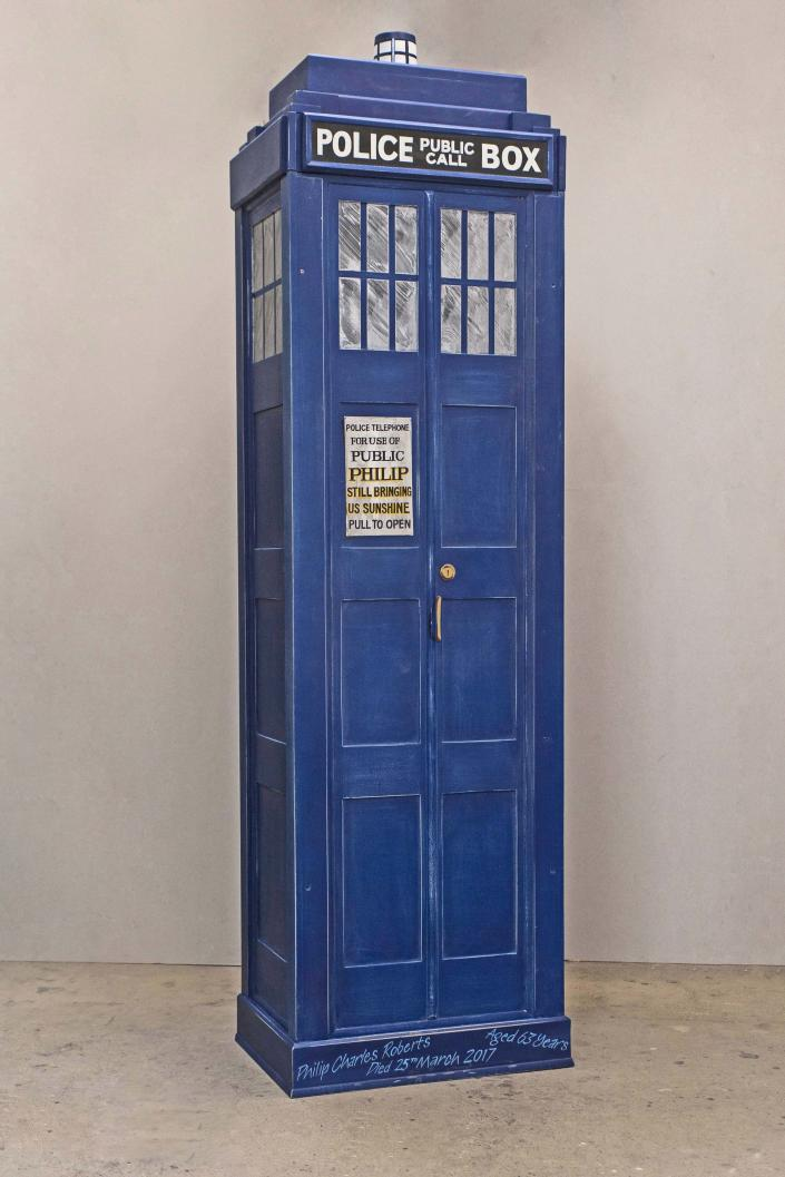 A coffin in the shape of Doctor Who's Tardis. (Photo: Caters News)