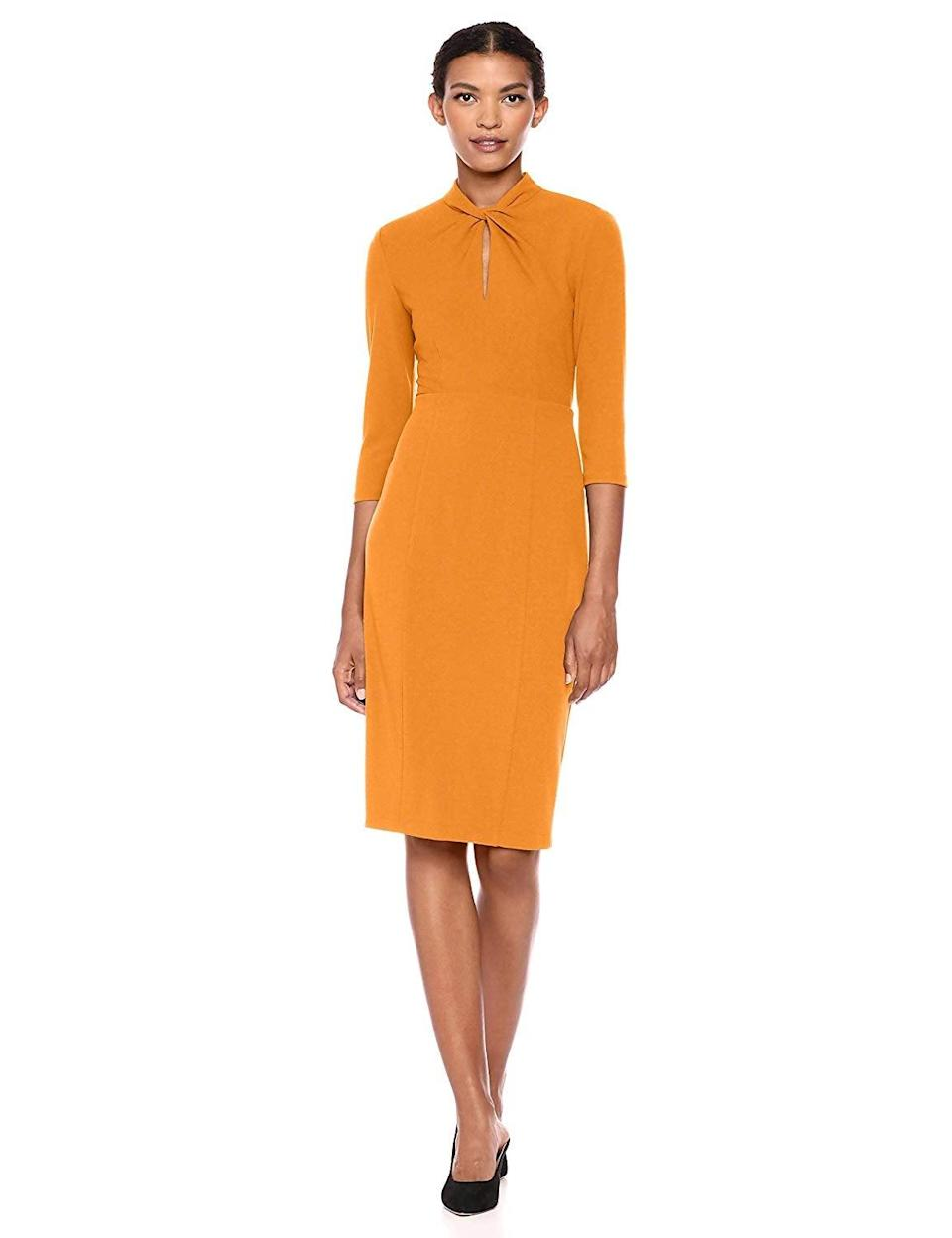 """<br><br><strong>Donna Morgan</strong> Knotted Crepe Sheath Dress, $, available at <a href=""""https://www.amazon.com/Donna-Morgan-Womens-Knotted-Sheath/dp/B07NSXQNJT"""" rel=""""nofollow noopener"""" target=""""_blank"""" data-ylk=""""slk:Amazon"""" class=""""link rapid-noclick-resp"""">Amazon</a>"""