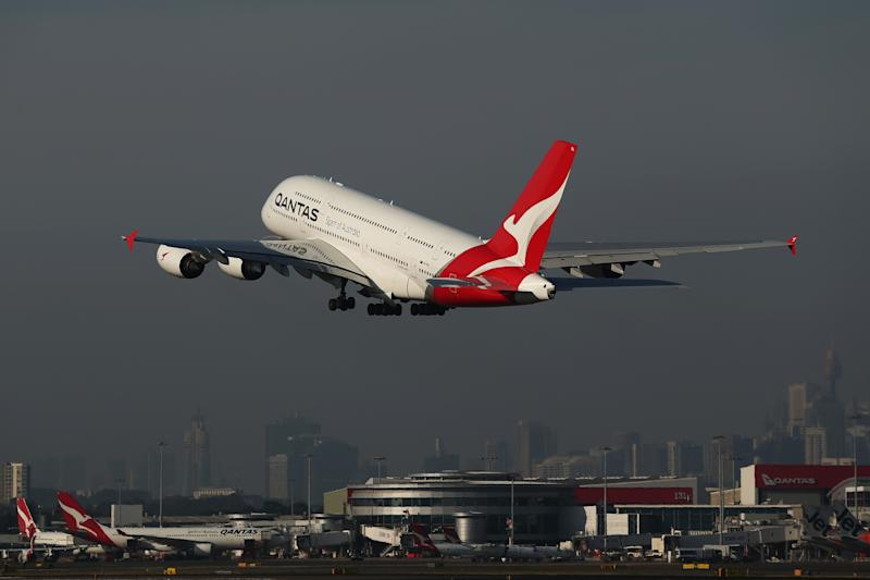 SYDNEY, AUSTRALIA - OCTOBER 31: A Qantas A380 takes-off at Sydney Airport priot to the 100 Year Gala Event on October 31, 2019 in Sydney, Australia. (Photo by Brendon Thorne/Getty Images)