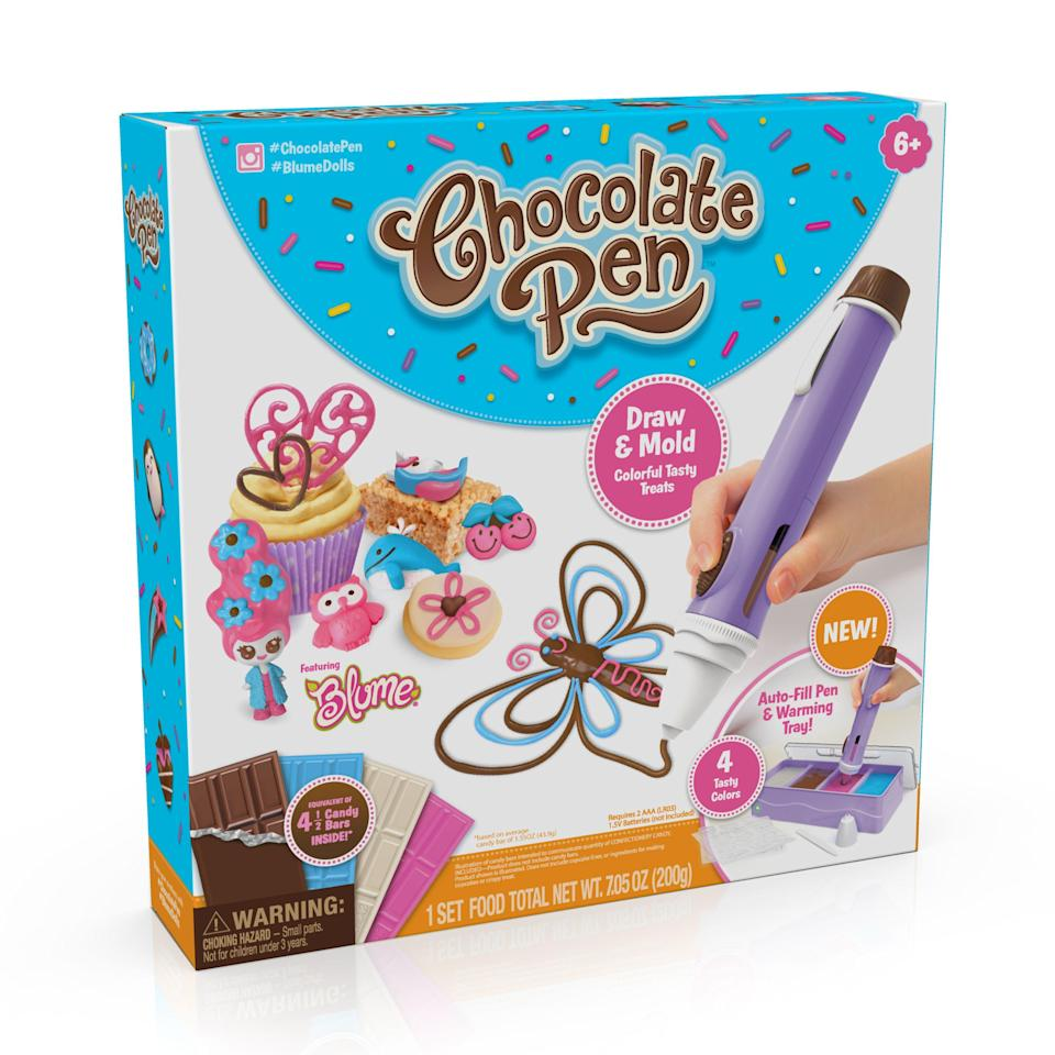 """<p><strong>Chocolate Pen</strong></p><p>walmart.com</p><p><strong>$24.99</strong></p><p><a href=""""https://go.redirectingat.com?id=74968X1596630&url=https%3A%2F%2Fwww.walmart.com%2Fip%2F989440742&sref=https%3A%2F%2Fwww.womansday.com%2Flife%2Fg34428616%2Fnew-toys-2020%2F"""" rel=""""nofollow noopener"""" target=""""_blank"""" data-ylk=""""slk:SHOP NOW"""" class=""""link rapid-noclick-resp"""">SHOP NOW</a></p><p>With over 40 different molds to choose from, you can create some sweet works of art with this chocolate pen. The easy-to-use design makes it suitable for kids as young as six, and let's you create individual chocolates or decorate cookies and cupcakes easily. <em>Ages 6+</em></p>"""