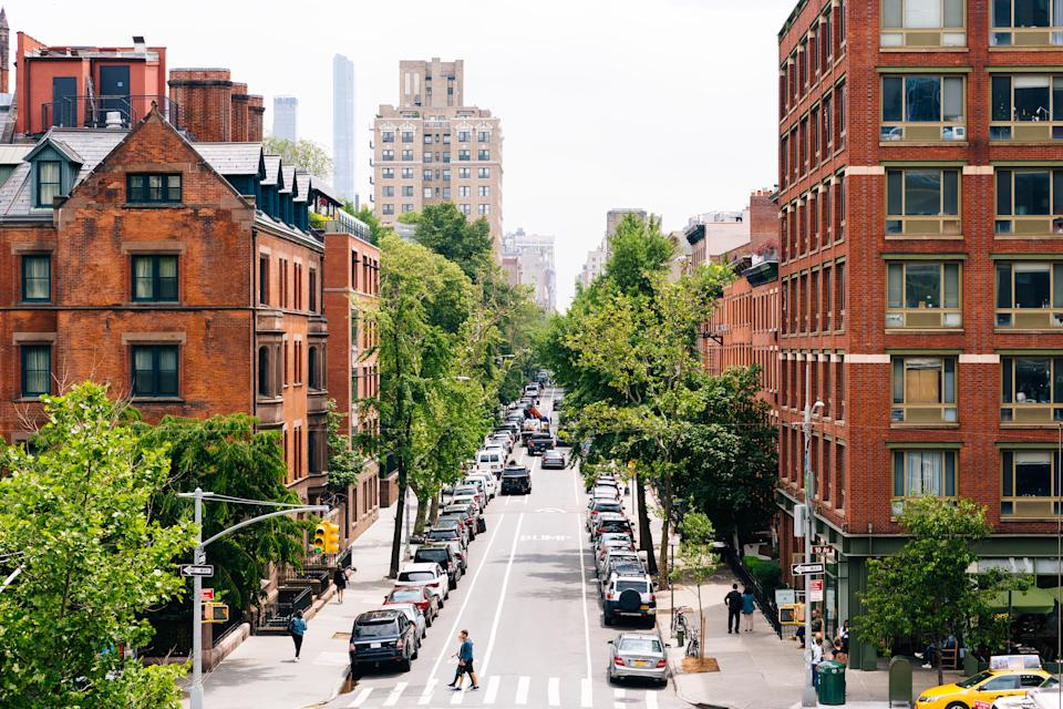 Street in Chelsea district, high angle view, New York City, USA - stock photo; source: Getty
