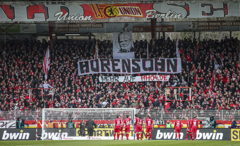 Union Berlin fans displayed a vulgar banner protesting Hoffenheim backer Dietmar Hopp. (Andreas Gora/dpa via AP)