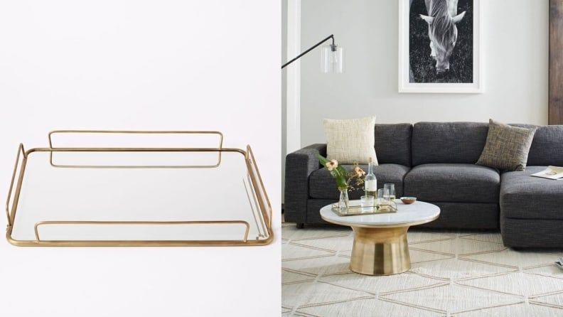 It looks fab on bar carts and coffee tables.