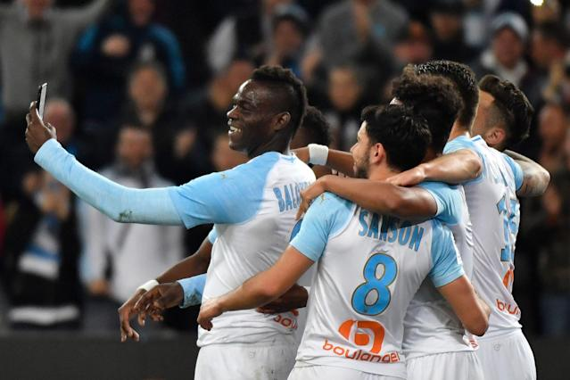 "Marseille forward <a class=""link rapid-noclick-resp"" href=""/soccer/players/372530/"" data-ylk=""slk:Mario Balotelli"">Mario Balotelli</a> celebrated a goal by filming his celebration on a cell phone because he's Mario Balotelli. (Getty)"