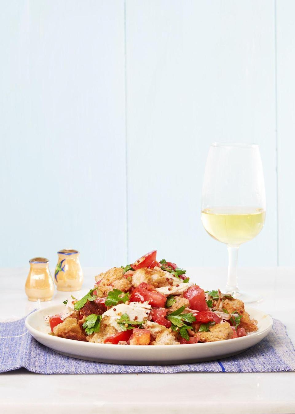 """<p>For when you can't even consider eating another hot meal after Thanksgiving, this bread salad topped with shredded turkey is for you.</p><p><em><a href=""""https://www.goodhousekeeping.com/food-recipes/easy/a33584/easy-chicken-panzanella-recipe/"""" rel=""""nofollow noopener"""" target=""""_blank"""" data-ylk=""""slk:Get the recipe for Easy Turkey Panzanella »"""" class=""""link rapid-noclick-resp"""">Get the recipe for Easy Turkey Panzanella »</a></em></p>"""