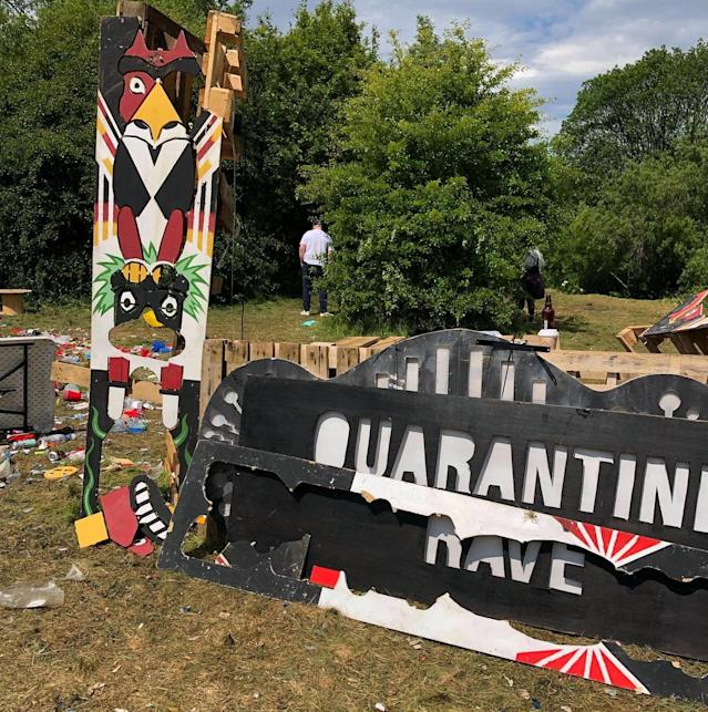 Footage posted on Snapchat showed people densely packed around a stage which read Quarantine Rave at the party. Pictured, the sign on Sunday morning. (PA)