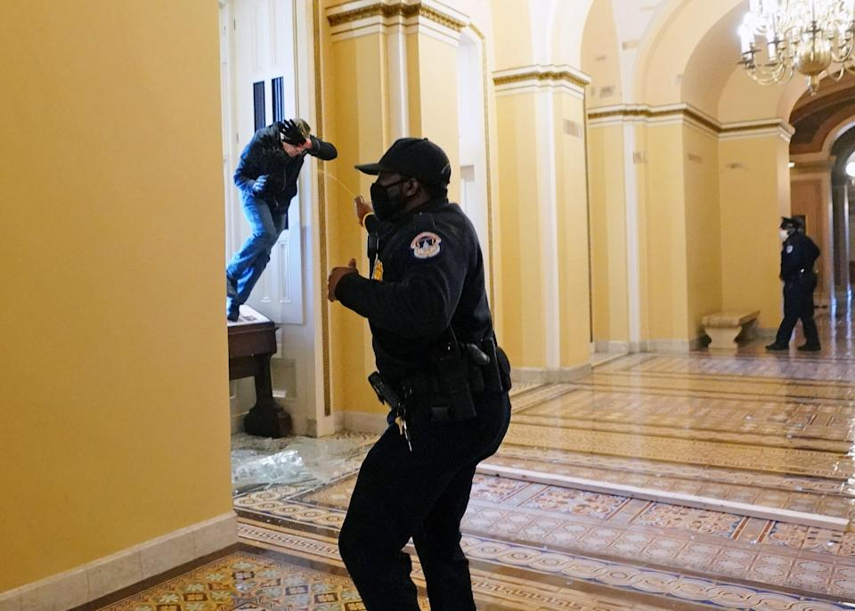 A Capitol police officer retreats as a rioter attempts to enter the building through a broken window, January 6, 2021.