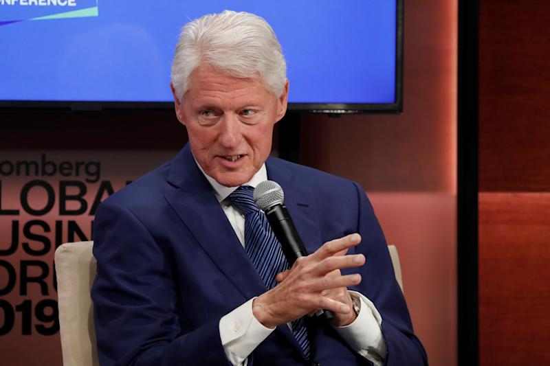 Former U.S. President Bill Clinton speaks during the Bloomberg Global Business Forum in New York City, New York, U.S., September 25, 2019. REUTERS/Shannon Stapleton