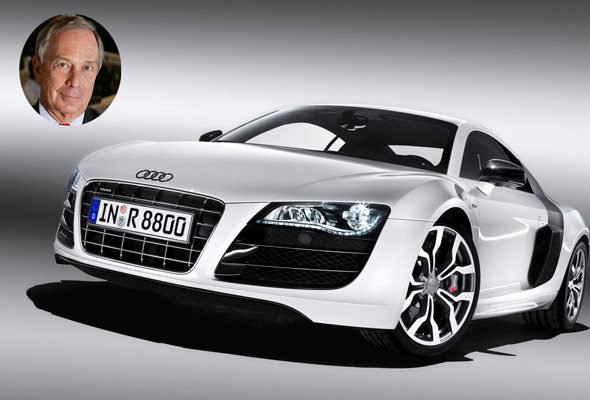 New York's mayor and financial data mogul Michael Bloomberg drives an Audi R8. The swanky car retails at $120,000 and goes from 0 to 60 mph in just 3.2 seconds. information via bornrich.com and Wikipedia.