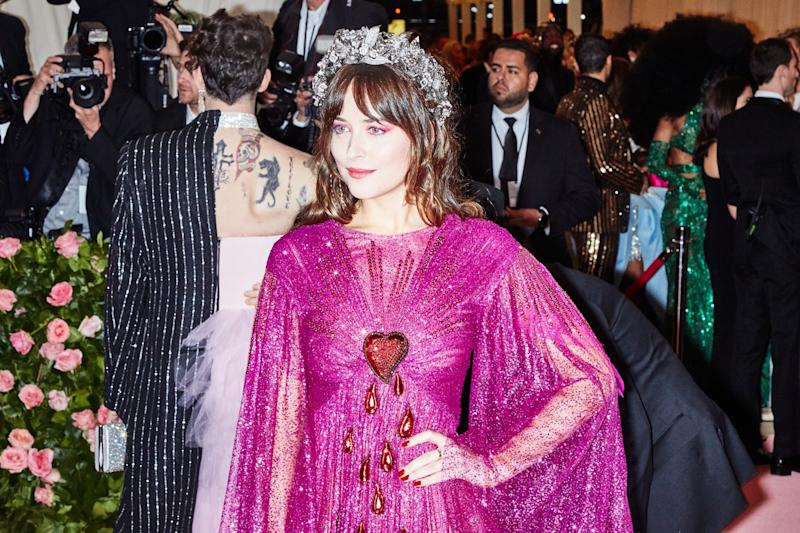 Dakota Johnson on the red carpet at the Met Gala in New York City on Monday, May 6th, 2019. Photograph by Amy Lombard for W Magazine.