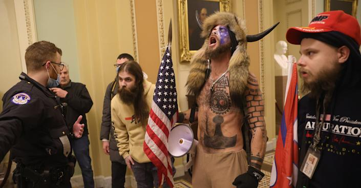 Protesters interact with Capitol Police inside the U.S. Capitol Building on January 06, 2021 in Washington, DC. (Win McNamee/Getty Images)
