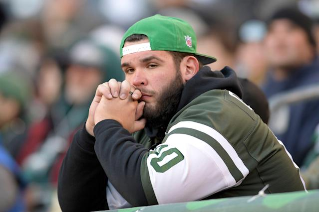 A New York Jets fan looking disgruntled, which isn't unusual. (AP)