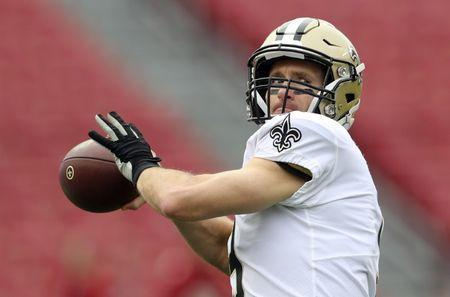 FILE PHOTO: Dec 9, 2018; Tampa, FL, USA; New Orleans Saints quarterback Drew Brees (9) warms up before the game against the Tampa Bay Buccaneers at Raymond James Stadium. Mandatory Credit: Kevin Jairaj-USA TODAY Sports