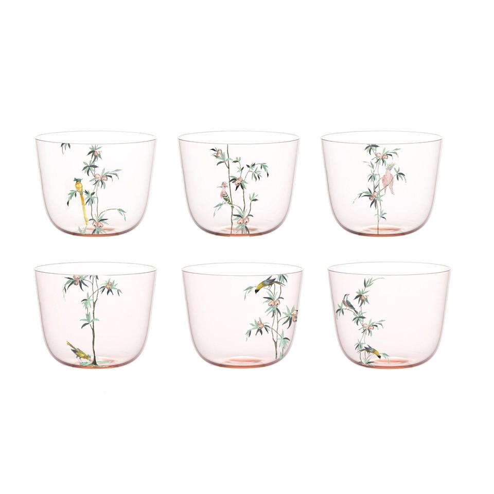 """<p><strong>Lobmeyr</strong></p><p>collectoshop.com</p><p><strong>$888.00</strong></p><p><a href=""""https://collectoshop.com/collections/glassware/products/alpha-water-tumbler-rosalin-garden-of-paradise"""" rel=""""nofollow noopener"""" target=""""_blank"""" data-ylk=""""slk:SHOP NOW"""" class=""""link rapid-noclick-resp"""">SHOP NOW</a></p><p>These hand-painted tumblers will make any kitchen feel fresh—whether you choose to use them daily as water glasses (and why wouldn't you want to?!) or save them for special evenings and occasions, to serve up your favorite cocktails. </p>"""