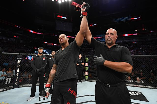 Greg Hardy reacts after defeating Juan Adams by TKO in their heavyweight bout during UFC Fight Night at AT&T Center on July 20, 2019 in San Antonio, Texas. (Getty Images)