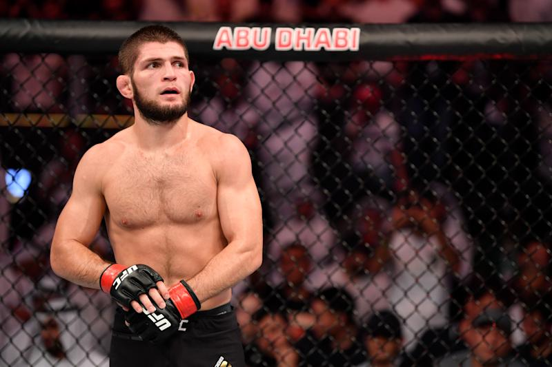 ABU DHABI, UNITED ARAB EMIRATES - SEPTEMBER 07: Khabib Nurmagomedov of Russia stands in his corner between rounds of his lightweight championship bout against Dustin Poirier during UFC 242 at The Arena on September 7, 2019 in Yas Island, Abu Dhabi, United Arab Emirates. (Photo by Jeff Bottari/Zuffa LLC/Zuffa LLC via Getty Images)