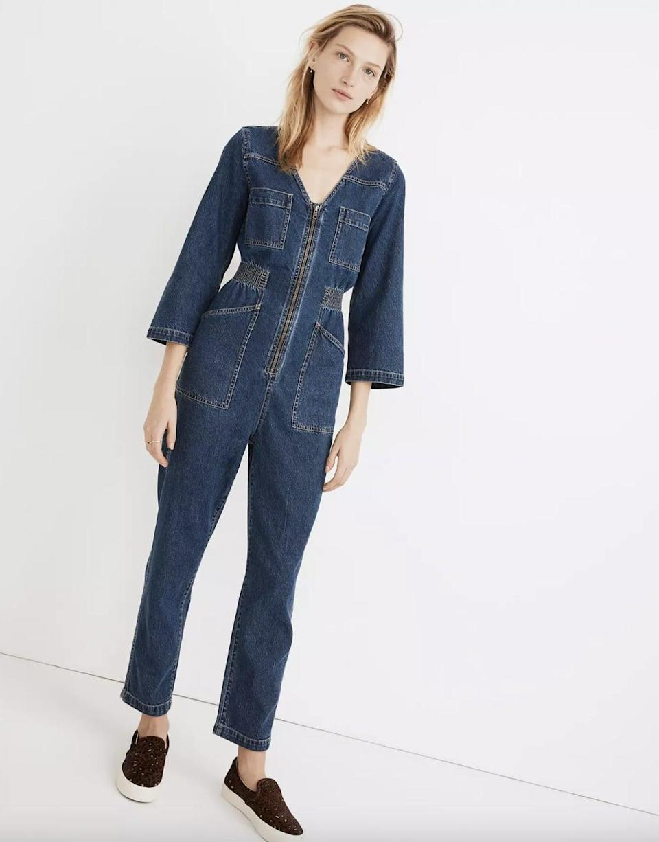 <p>Isn't this <span>Madewell Denim Patch Pocket Coverall Jumpsuit </span> ($110, originally $145) so cute and practical?</p>