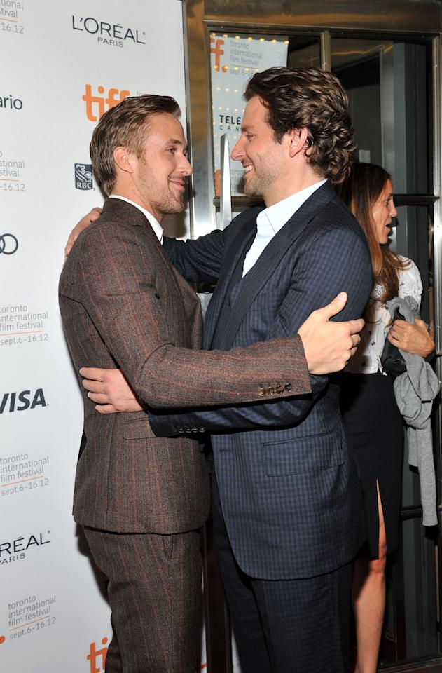 """What we wouldn't give to be that space of air in between Bradley Cooper and Ryan Gosling at the """"The Place Beyond the Pines"""" premiere."""