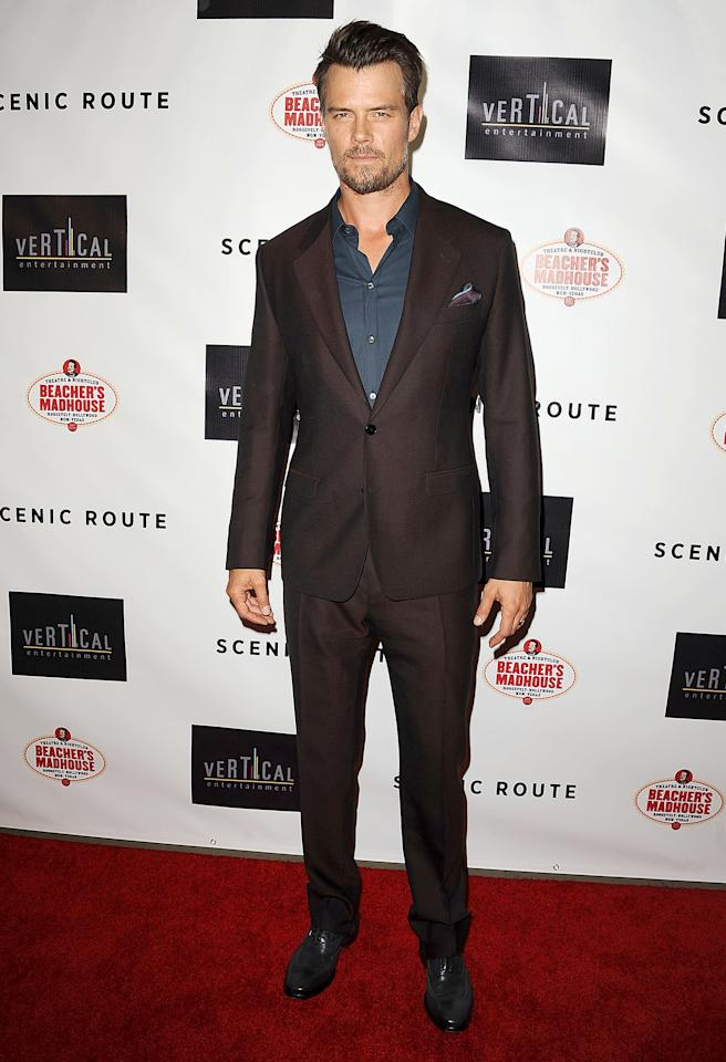 "<b>Who:</b> Josh Duhamel<br /><br /><b>Wearing:</b> Merlot-hued D&G suit<br /><br /><b>Where:</b> ""Scenic Route"" premiere in Los Angeles"