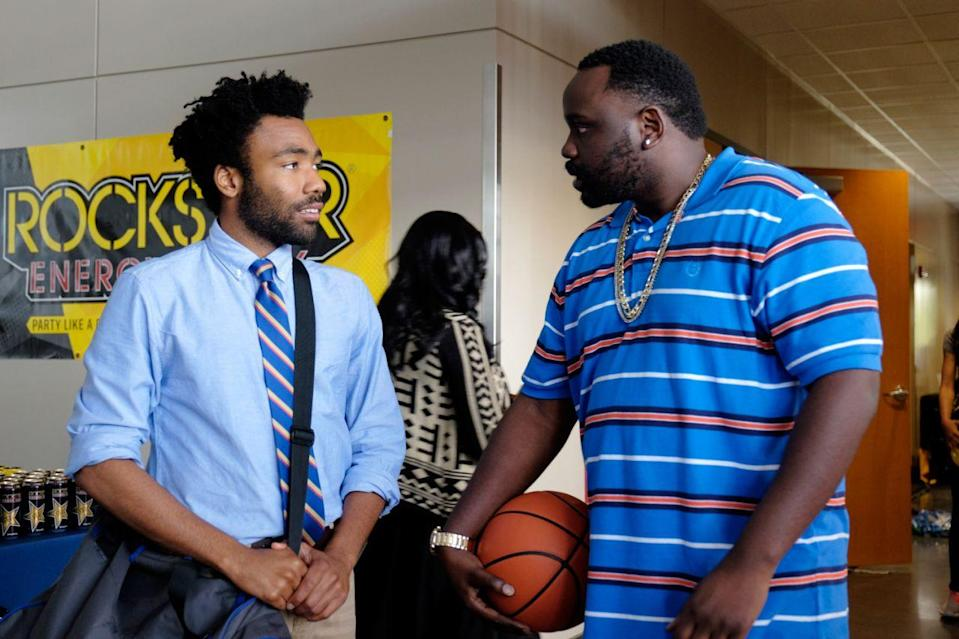 "Donald Glover as Earnest ""Earn"" Marks and Brian Tyree Henry as Alfred ""Paper Boi"" Miles in <em>Atlanta</em>. (Credit: FX)"