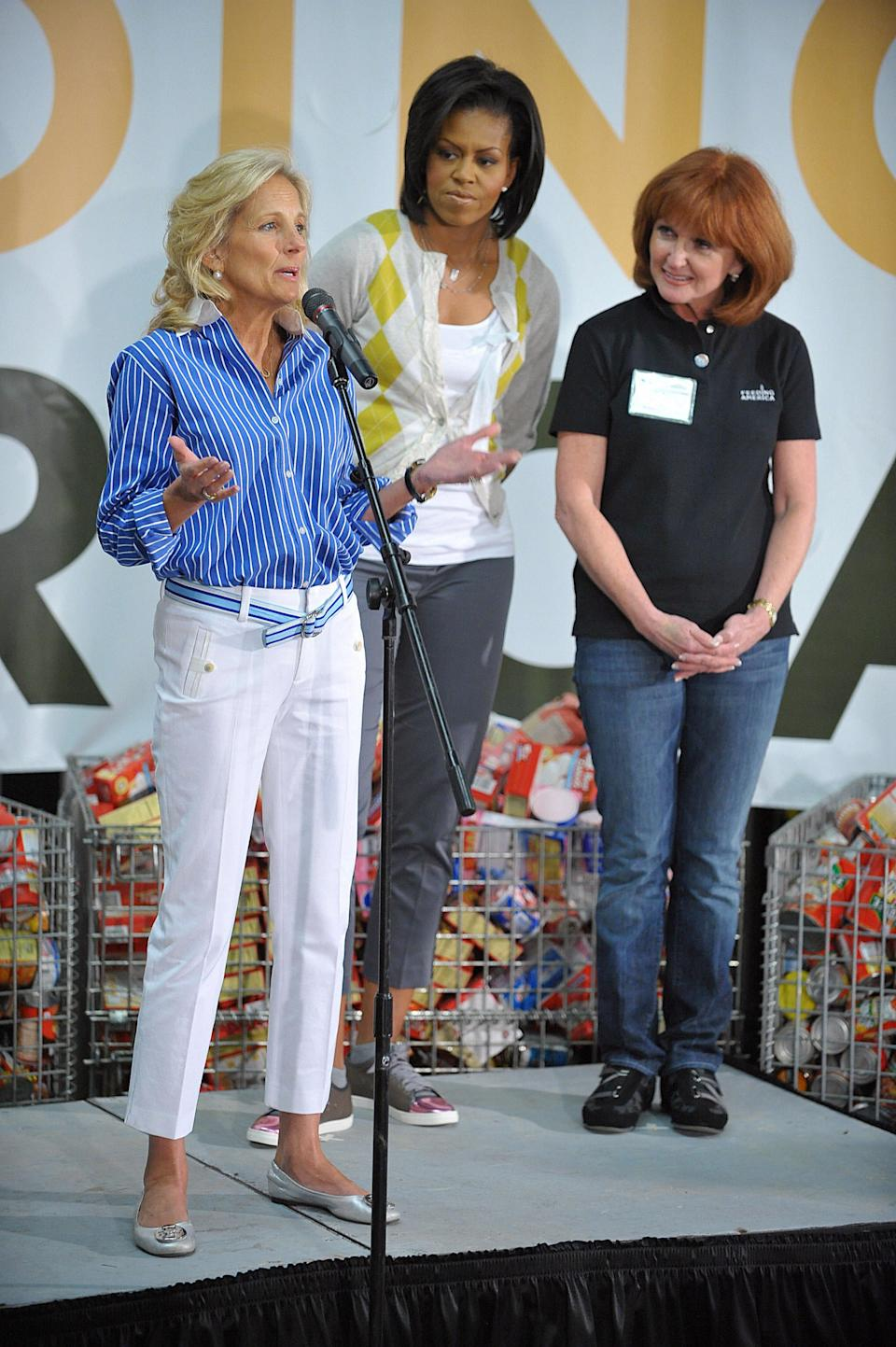 Jill Biden nails preppy casual alongside Michelle Obama and Vicki Escarra president and CEO of Feeding America on April 29, 2009AFP via Getty Images