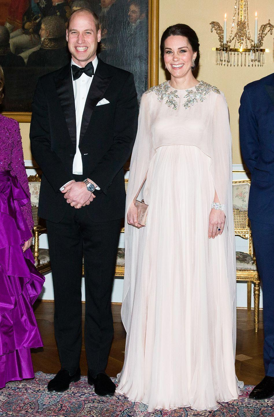 "<p>Will and Kate embarked on<a href=""https://www.townandcountrymag.com/society/tradition/g15917756/photos-kate-middleton-royal-tour-sweden-norway-2018/"" rel=""nofollow noopener"" target=""_blank"" data-ylk=""slk:a royal tour of Norway and Sweden"" class=""link rapid-noclick-resp""> a royal tour of Norway and Sweden</a> in early 2018. The Duchess chose an ethereal blush pink gown by Alexander McQueen that featured a cape and stunning crystal detailing for a formal state dinner during the royal visit. </p>"
