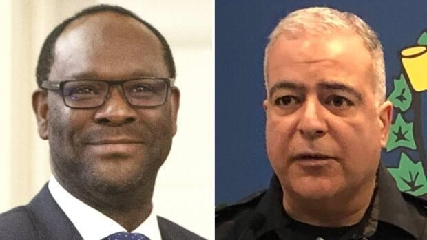 Alberta Justice Minister Kaycee Madu, left, has ordered Lethbridge Police Chief Shahin Mehdizadeh re-draft an action plan which aims to shape up the service after several scandals in recent years. (Government of Alberta; Meghan Grant/CBC - image credit)