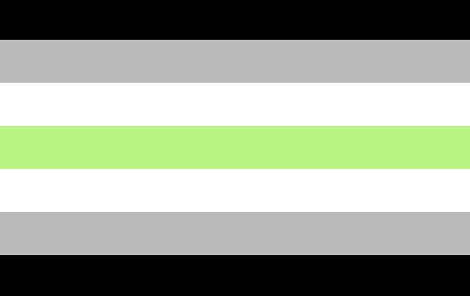 """<p>Designer Salem X or """"Ska"""" created a reversible flag—much like the transgender flag—to represent rejection of gender. Green is nonbinary, and black and white are absence of gender.</p>"""