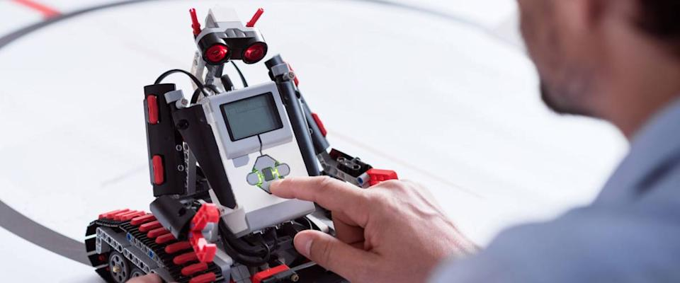 Cute little robot testing in a lab