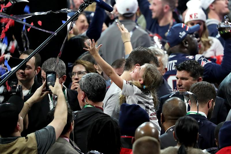 ATLANTA, GEORGIA - FEBRUARY 03: Tom Brady #12 of the New England Patriots celebrates with Vivian Lake Brady after his 13-3 win against Los Angeles Rams during Super Bowl LIII at Mercedes-Benz Stadium on February 03, 2019 in Atlanta, Georgia. (Photo by Streeter Lecka/Getty Images)