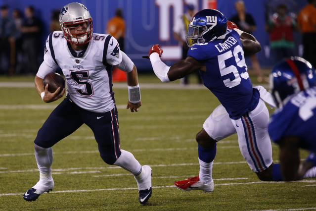 New England Patriots backup quarterback Danny Etling ran for an 86-yard touchdown on Thursday night in their preseason game against the New York Giants. (Getty Images)