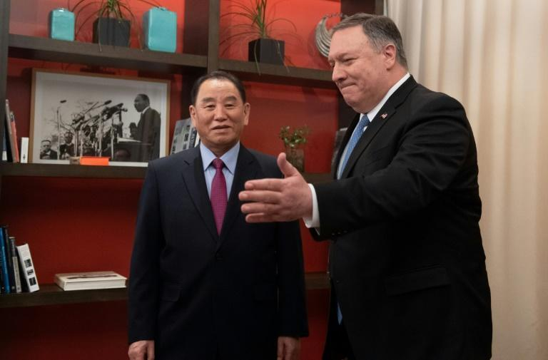 US Secretary of State Mike Pompeo welcomes North Korean General Kim Yong Chol to talks at a Washington hotel