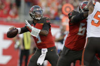 Tampa Bay Buccaneers' Jameis Winston (3) throws a pass during the first half of an NFL preseason football game against the Cleveland Browns Friday, Aug. 23, 2019, in Tampa, Fla. (AP Photo/Chris O'Meara)