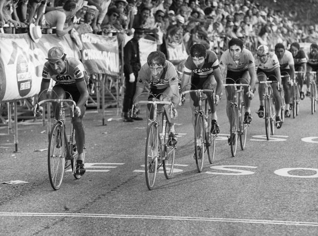 """FILE - In this July 18, 1972 file photo, cyclists (from left to right) Raymond Poulidor, France, Cyrille Guimard, France, Felice Gimondi, Italy , Eddy Merckx, Belgium and Julio Jimenez, Spain, lead the pack during the 14. stage of the Tour de France cycling race from Valloire-Le Galibier to Aix les Bains. Tour de France organizers have confirmed that former rider Raymond Poulidor, known as """"the eternal runner-up"""" behind five-time winners Jacques Anquetil and Eddy Merckx, has died. He was 83 years old.( AP Photo, File)"""