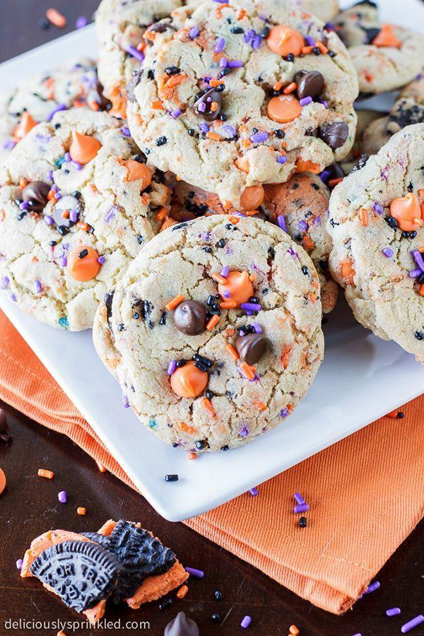 "<p>These cookies are made for a party.</p><p>Get the recipe from <a href=""http://deliciouslysprinkled.com/oreo-funfetti-cookies/"" rel=""nofollow noopener"" target=""_blank"" data-ylk=""slk:Deliciously Sprinkled"" class=""link rapid-noclick-resp"">Deliciously Sprinkled</a>.<br></p>"