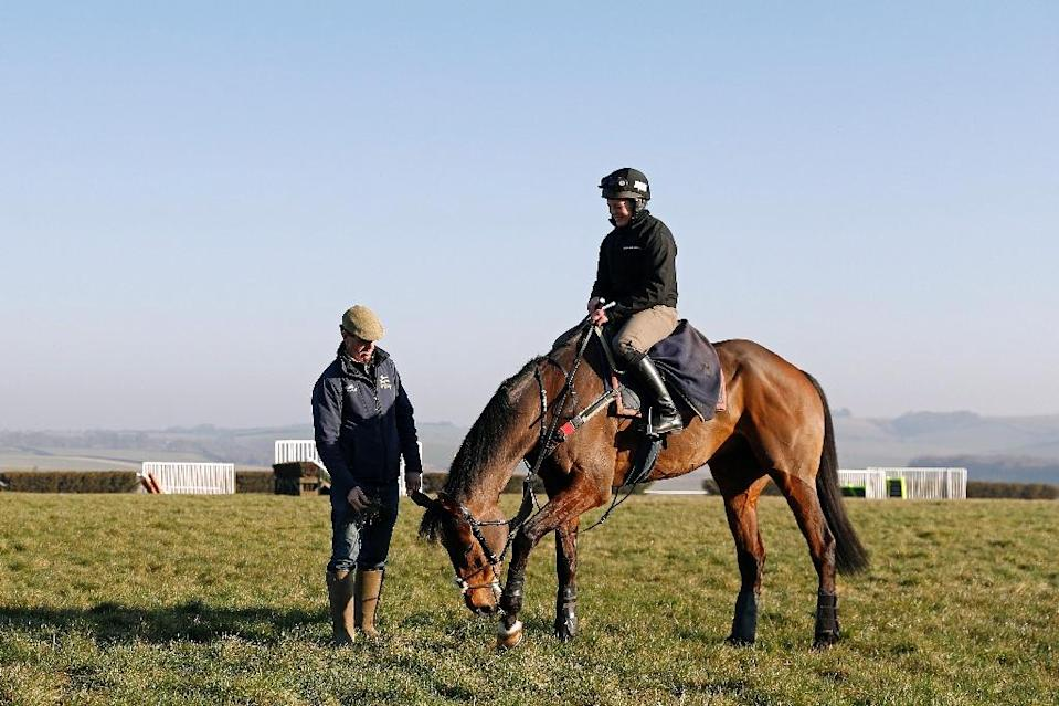 Jamie Snowden (L) trains 50 horses at the picturesque Folly House in Lambourn and is sending three runners to Cheltenham (AFP Photo/ADRIAN DENNIS)