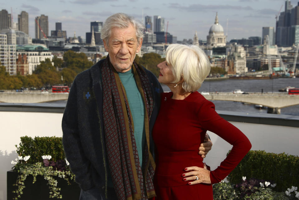 Actors Sir Ian McKellen and Dame Helen Mirren pose for photographers upon arrival at the photo call of 'The Good Liar' at a central London hotel, Wednesday, Oct. 30, 2019. (Photo by Joel C Ryan/Invision/AP)