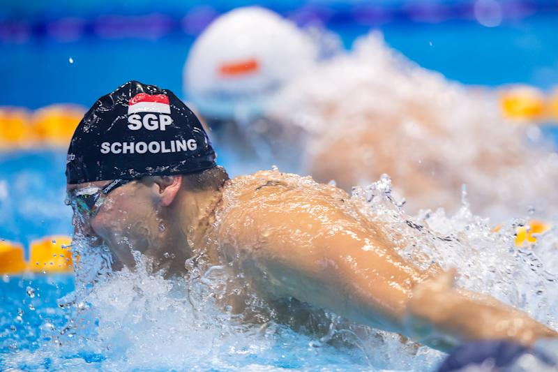 Singapore swimmer Joseph Schooling in action in the men's 100m butterfly final. (PHOTO: SNOC/Andy Chua)