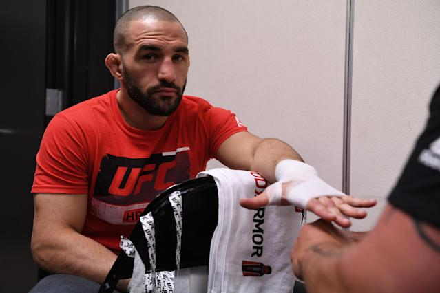 MINNEAPOLIS, MN - JUNE 29: Jared Gordon gets his hands wrapped backstage during the UFC Fight Night event at the Target Center on June 29, 2019 in Minneapolis, Minnesota. (Photo by Mike Roach/Zuffa LLC/Zuffa LLC via Getty Images)