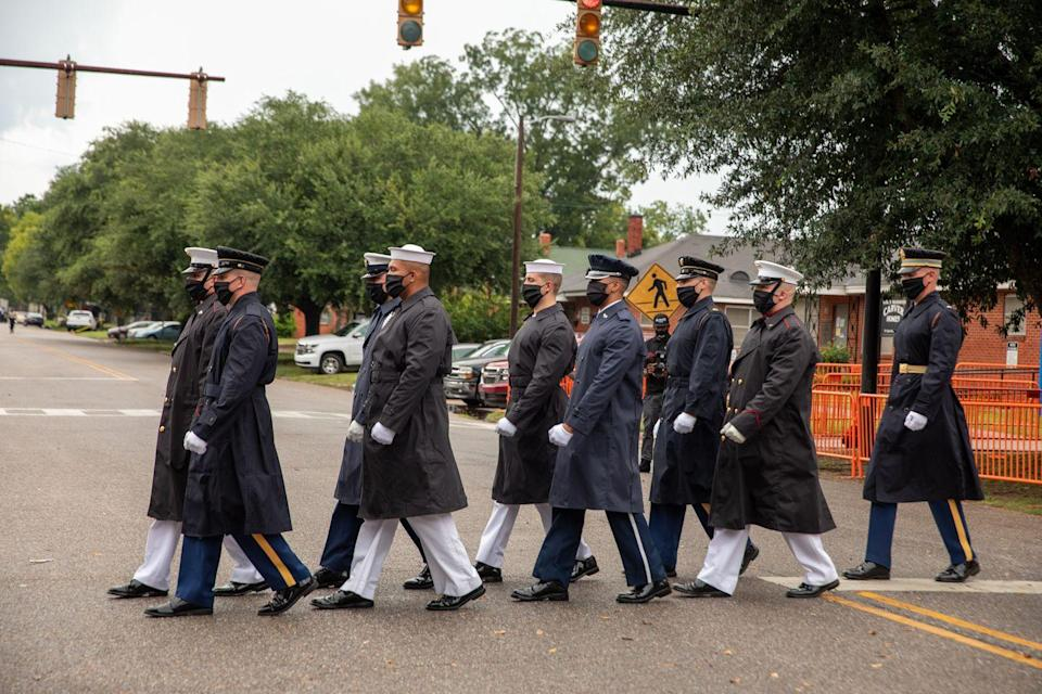 <p>In preparation for the July 26 proceedings, military pallbearers arrived at Brown Chapel A.M.E. in the historic Selma, Alabama. As Lewis led the 1965 Selma to Montgomery Civil Rights marches, part of the funereal procession included tracing the Montgomery voting rights trail. </p>