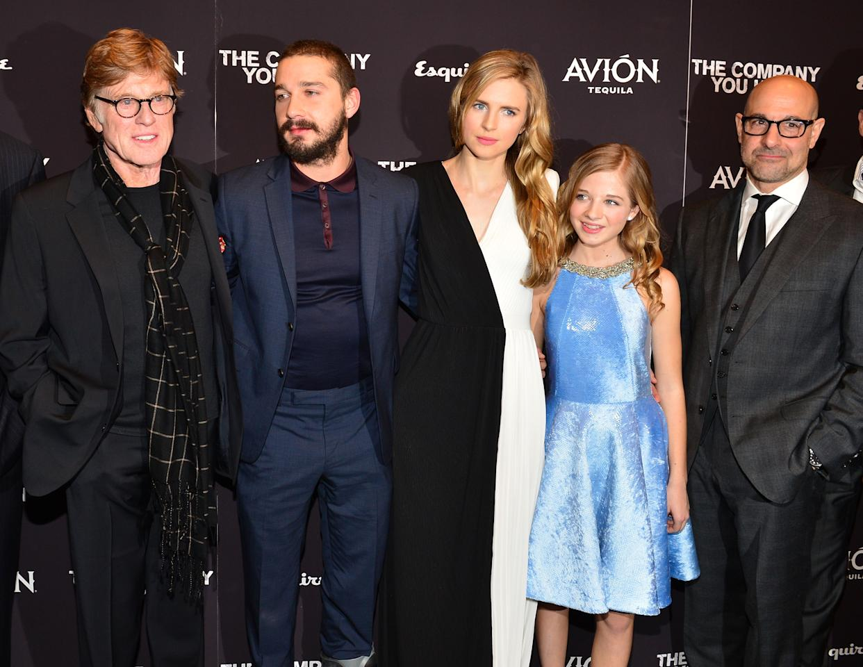 """NEW YORK, NY - APRIL 01:  (L-R) Director\Actor Robert Redford, Shia LaBeouf, Brit Marling, Jackie Evancho and Stanley Tucci attend """"The Company You Keep"""" New York Premiere at The Museum of Modern Art on April 1, 2013 in New York City.  (Photo by Larry Busacca/Getty Images)"""