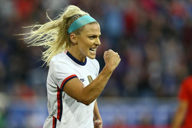 Julie Ertz celebrates after scoring the only goal in the USWNT's 1-0 victory over Spain in the SheBelieves Cup. (Photo by Mike Stobe/Getty Images)