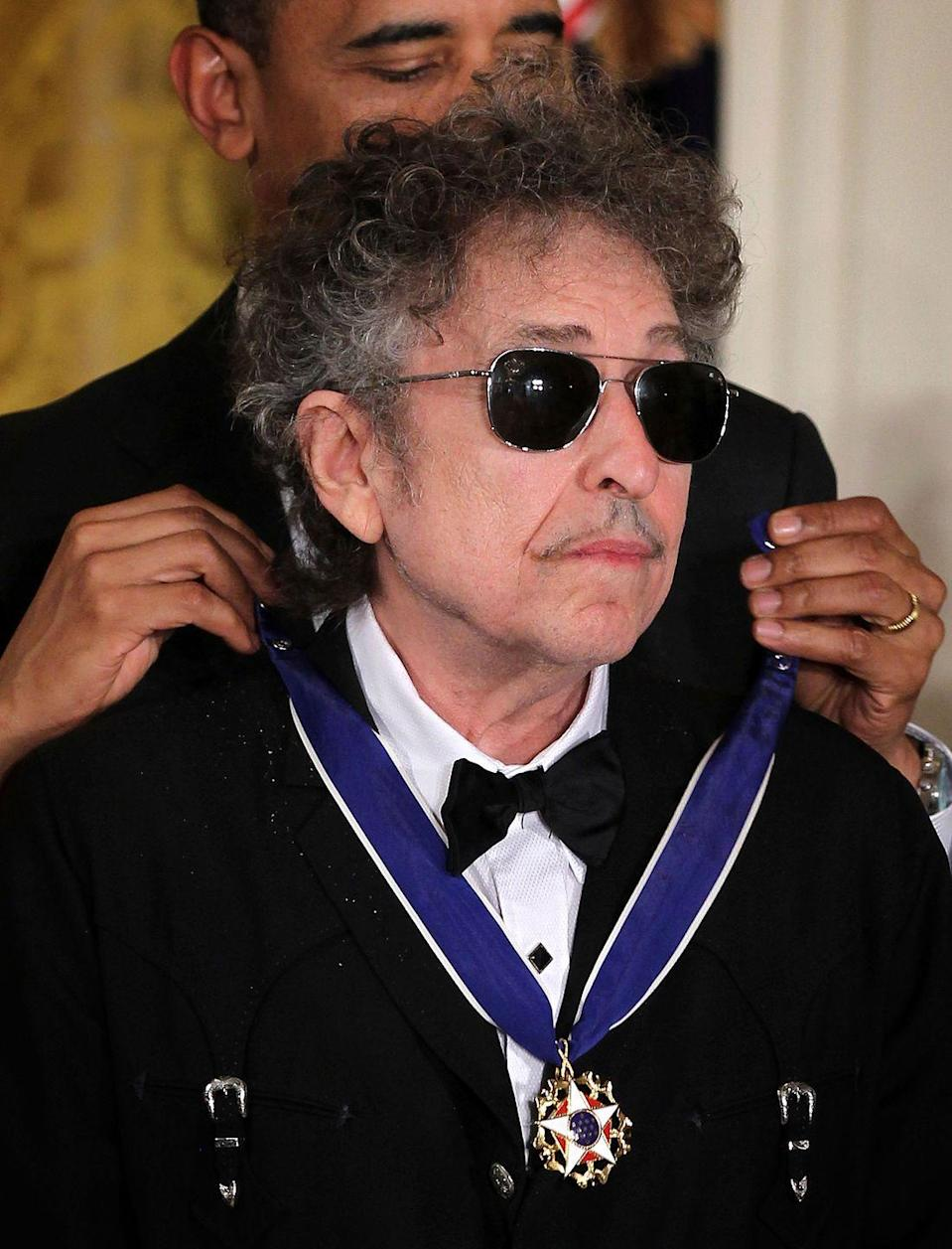 <p>Bob Dylan is presented with a Presidential Medal of Freedom May 29, 2012 at the White House.</p>
