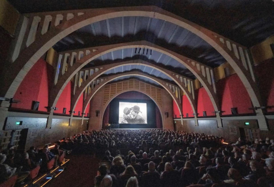 Inside the renovated 488-seat Hollywood Legion Theatre on Highland Ave.